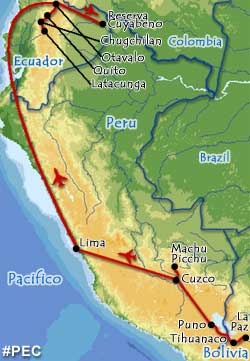 Peru, Eucador and Bolivia tour map